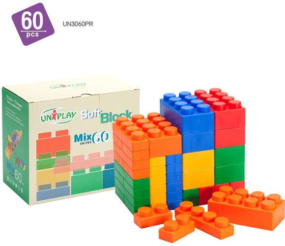 Uniplay Mix Series Jumbo Soft Building Blocks | Plastic Blocks | Baby, Toddler, & Youth Developmental, Educational, & Creative Toy | Antibacterial, Non-Toxic, & Bpa-Free | 60-Piece Multi-Color Set