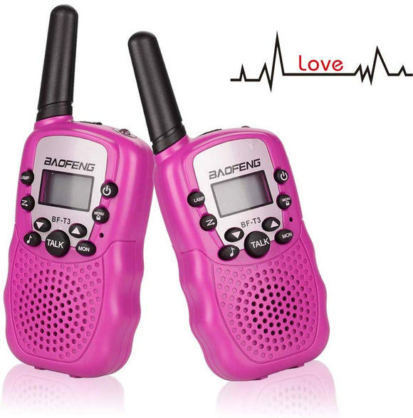 Treemoo Walkie Talkies For Kids Bf-T3 Children Outdoor Toys 22 Channels 3 Miles Range(1 Pair Pink)
