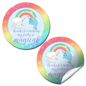 "Narwhal Unicorn Of The Sea Thank You Birthday Party Sticker Labels, 40 2"" Party Circle Stickers By Amandacreation, Great For Party Favors, Envelope Seals & Goodie Bags"