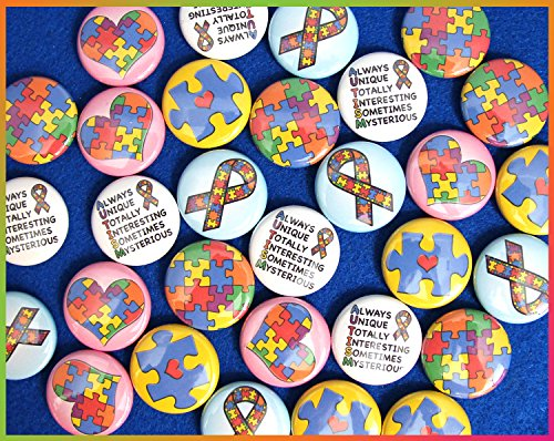 Ilms Autism Awareness Mini Buttons. (1  Pins, 30 Piece Set)