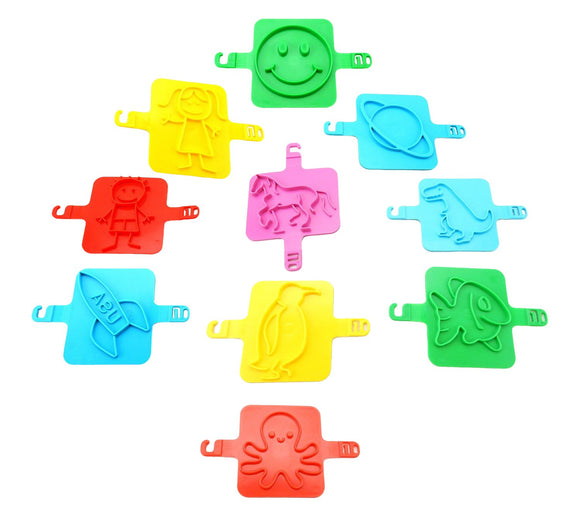 Set Of 10 Colorful Fun Shapes - Sand Stamps - Straps To Hands Or Feet
