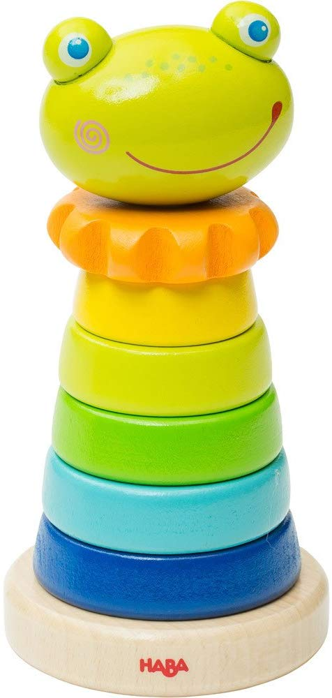Haba Frido Frog Stacker - 8 Piece First Wooden Pegging Game For Ages 18 Months And Up