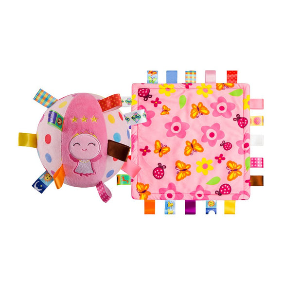Inchant Colorful Baby Security Blanket Taggy Blankets& Cute Angel Toddler Bell Ring Ball Plush Toy