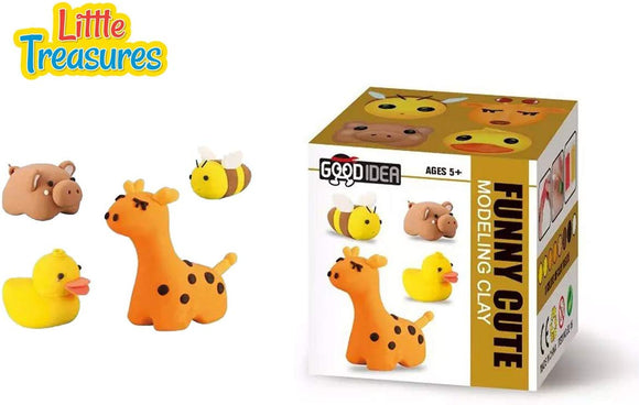 Molding Play-Dough Kit 4-In-1  A Fun Arts And Craft Kids Artist Toy Project Clay Modeling And Sculpting Diy Play-Set  Create Your 3D Theme Cute Animal Figures A Giraffe - Pig - Duck And A Bee