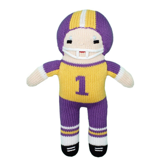 Zubels Baby Boys Hand-Knit Football Player Plush Toy, All-Natural Fibers, Eco-Friendly, 12-Inch, Purple & Gold