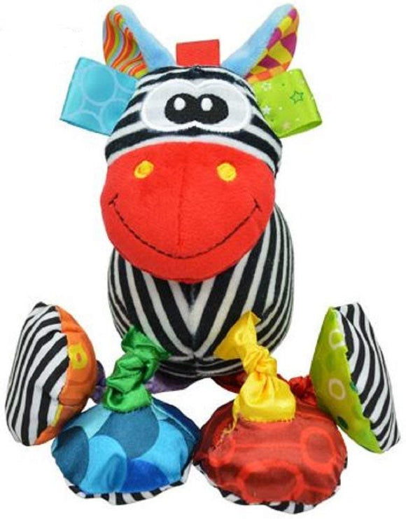 Colorful Hanging Baby Small Zebra With Rattle And Teether For Stroller Or Crib