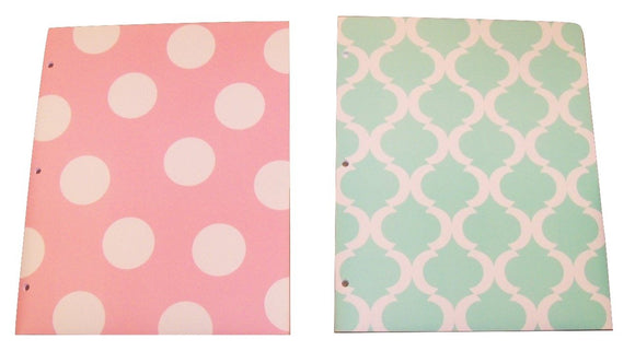 Carolina Pad Studio C Set Of 2 Poly Folders ~ Pattern Play (Pink Polka Dot, Green And White Design)