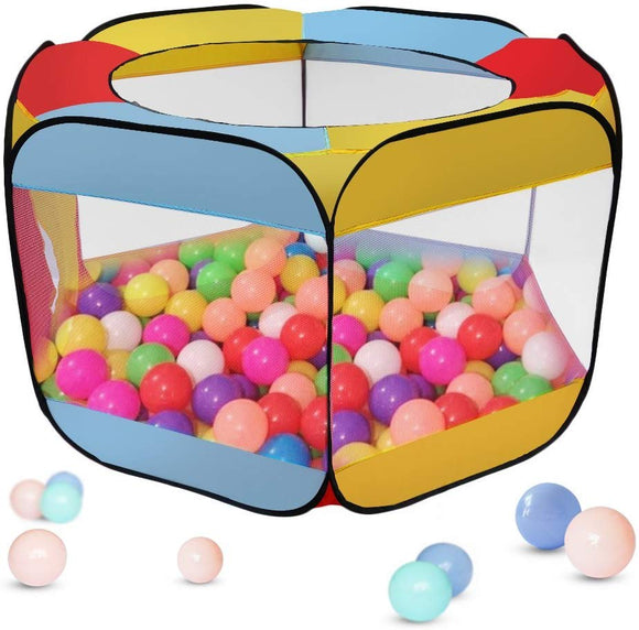 Ball Pit Play Tent For Kids, 55''X50''X29'' Hexagon Mesh Ball Pit 6-Sided Ball Pit For Kids Toddlers And Baby Toddler Playpen Indoor Outdoor Twist Pool Kids Popup Play Tent (Balls Not Included)
