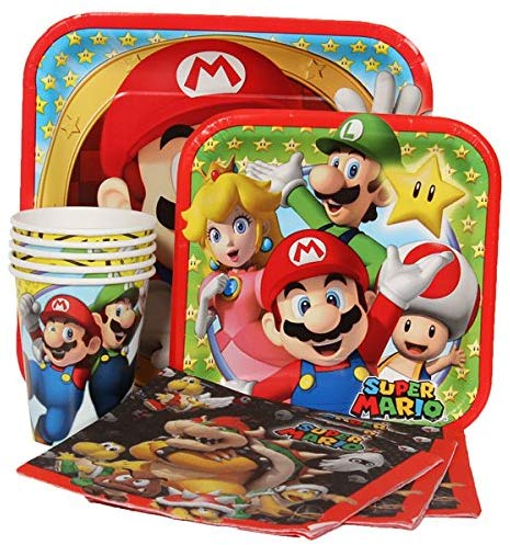 Four-Seasonstore Super Mario Brothers Value Pack Birthday Party For 8 Guests ( Plates, Cups, Napkins)