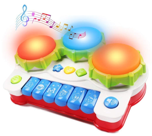 Haktoys Hand Drum And Keyboard Piano With Led Lights And Sound | Multi-Functional Colorful Buttons | Early Educational Learning Musical Instrument | Safe And Durable Toy For Infants, Toddlers And Kids