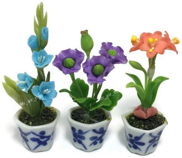 3Pc Miniature Flower Clay Dollhouse Fairy Garden Mini Plant Trees Ceramic Paint Furniture Bundles Artificial Flowers Tiny Orchid #081
