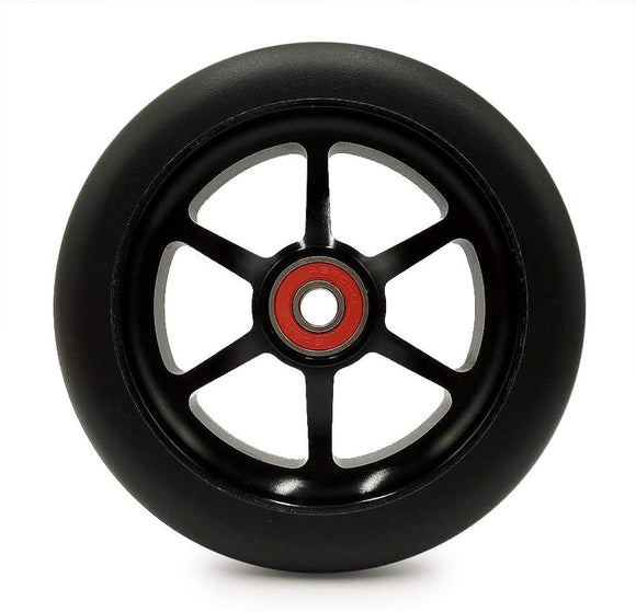 Z-First 2Pcs 120Mm Pro Scooter Wheels With Abec 9 Bearings For Mgp/Razor/Lucky Pro Scooters (6 Spoke) (Black)