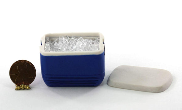 Dollhouse Miniature 1:12 Blue Cooler Filled With Ice