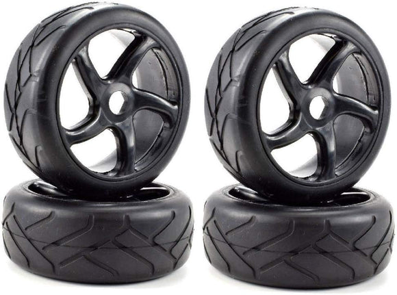 Apex Rc Products 1/8 On-Road Black Twist Wheels & Super Grip Tires - Set Of 4 #6022