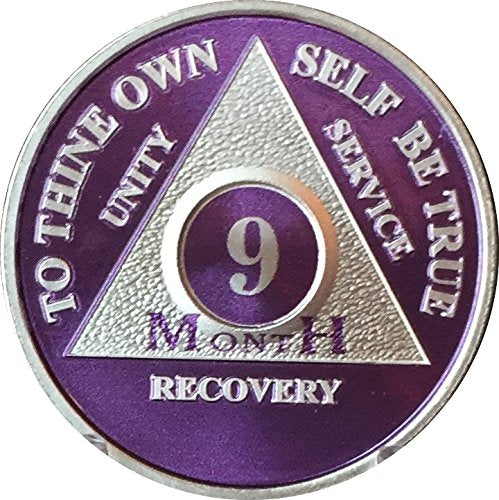 9 Month Purple Silver Plated Aa Medallion Chip