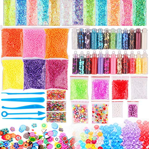 Dushi Slime Supplies Kit,Diy Slime Making Kit Include Slime Foam Beads Confetti Star And Heart Sprinkles Fruits Slices Accessories