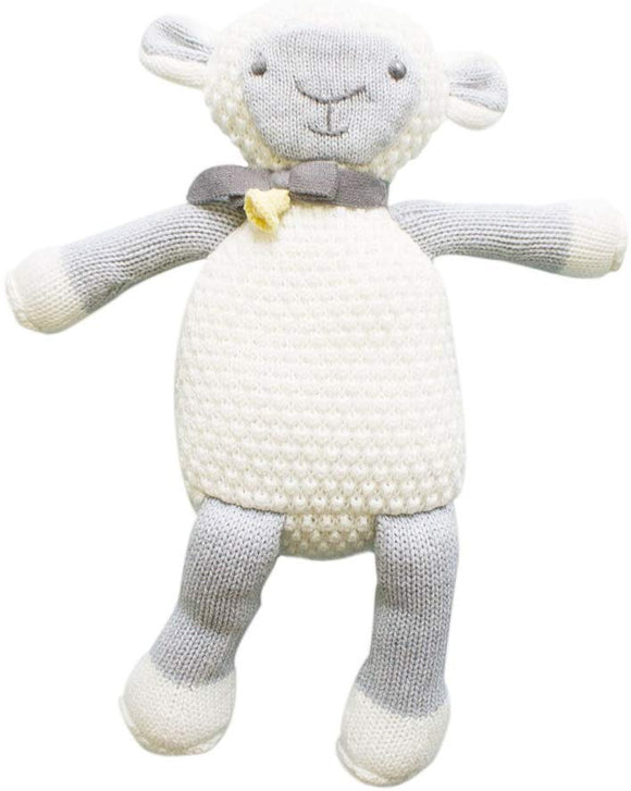Zubels Baby Lola The Lamb Hand-Knit Plush Doll Toy, All-Natural Fibers, Eco-Friendly, 12-Inch