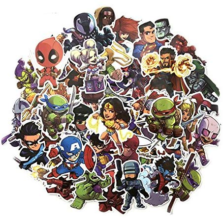 Phingshop 50 Pcs Mixed Different Stickers Cartoon Movie Superhero For Kids Laptop Skateboard Toy Stickers