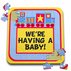 Tnmgraphics Baby Announcement - Baby Announcement Train Red And Blue - 10X10 Inch Puzzle (Pzl_222930_2)