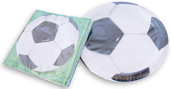 Soccer Ball Party Supplies - Sports Dinner Plates(8) And Napkins(16)
