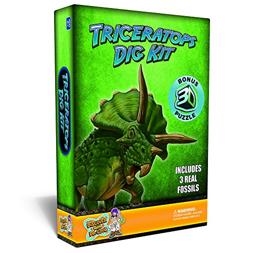 Triceratops Dinosaur Dig Kit Excavate 3 Real Dino Fossils!
