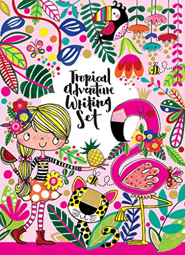 Rachel Ellen Tropical Flamingo Design Writing Kit, Girls Stationery Paper Letter Set, Stickers, Envelope Seals