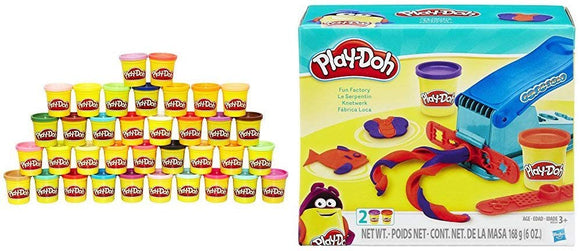 Play Doh 36-Can Mega Pack - Amazon Exclusive With Play Doh Fun Factory Set Bundle