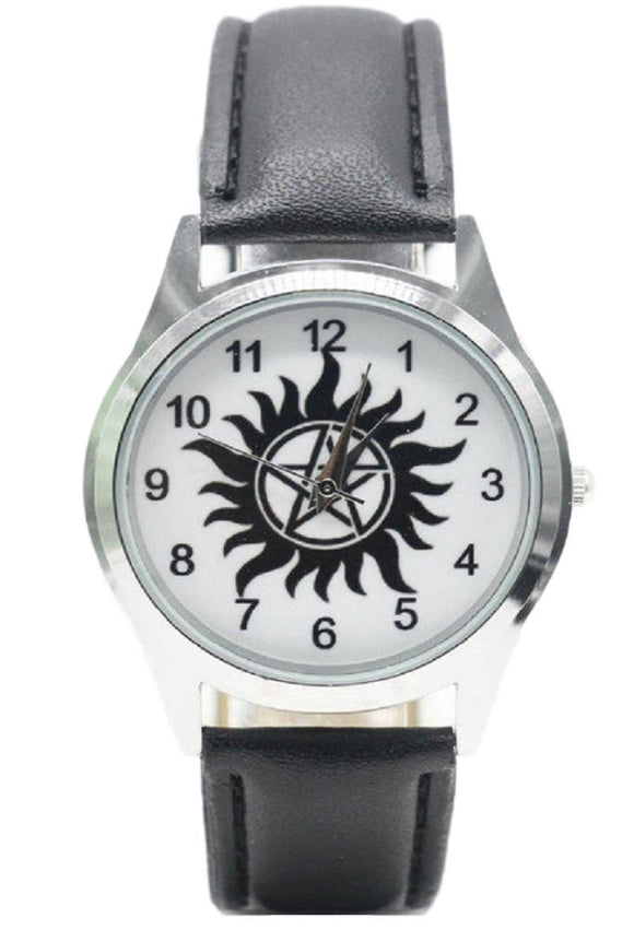 New Horizons Production Supernatural Anti Possession Logo Genuine Leather Band Wrist Watch