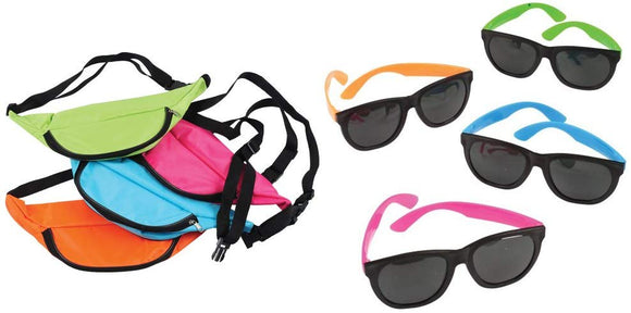 U.S. Toy Neon Fanny Pack Sunglasses 24 Piece Set For 12 Bundle Party Favors Goody Bags
