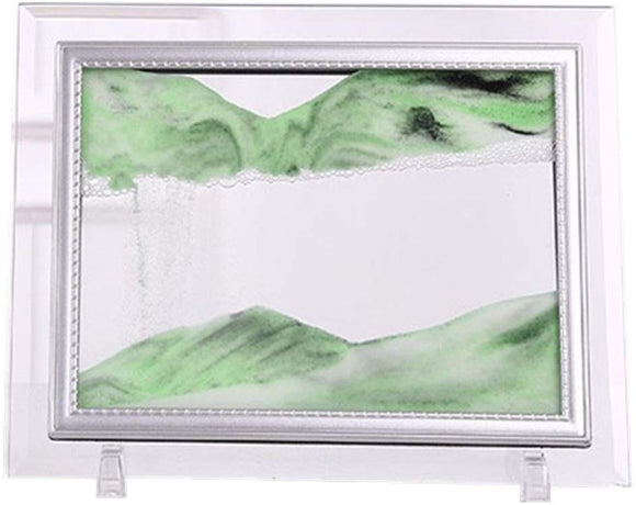Yuanlar Deep Sea Moving Sand Art Picture Sandscapes In Motion Office Desktop Art Decor Toys (Green, 7''X8.7'')