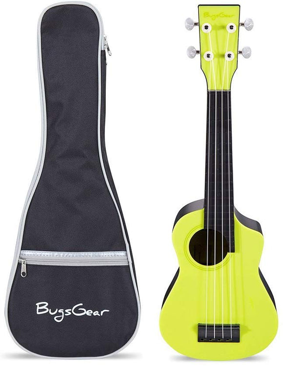 Bugs Gear Pr11Pnsyl Portable Outdoor Kid Friendly 18 Fret Soprano Aqulele Water Resistant Ukulele With Case, Yellow