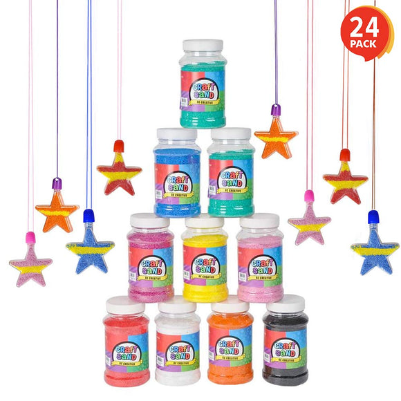 Artcreativity Craft Sand Super Pack - Set Of 24 - Includes 12 Big Tubes Of Colorful Sand & 12 Star Shaped Necklaces - Fun Party Favor, Prize And Crafts - For Boys And Girls Ages 3+
