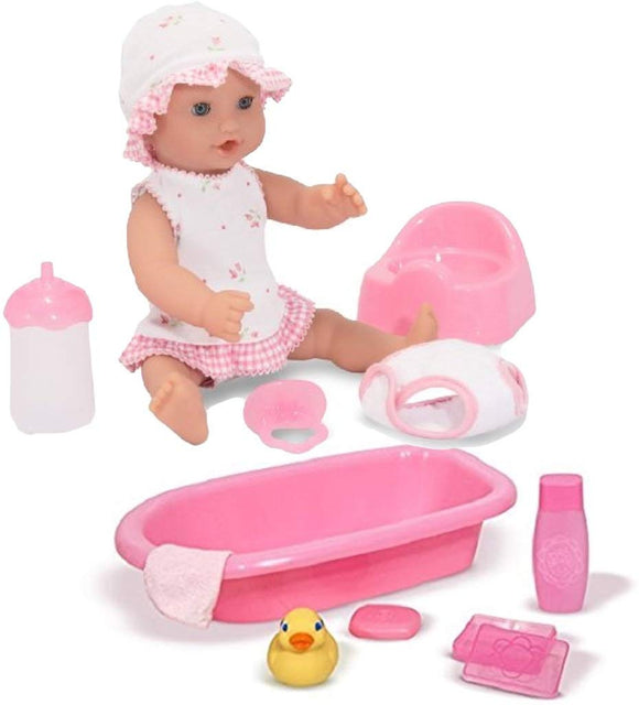 Melissa & Doug Bundle Includes 2 Items Mine To Love Annie 12-Inch Drink And Wet Poseable Baby Doll With Potty, Bottle, Pacifier, Diaper, Dress Mine To Love Baby Doll Bathtub And