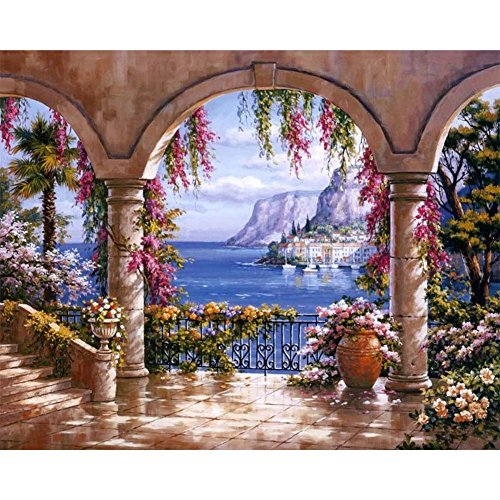 Awakingdemi Diy Diamond Painting Garden Resin Embroidery Painting Cross Stitch Style A