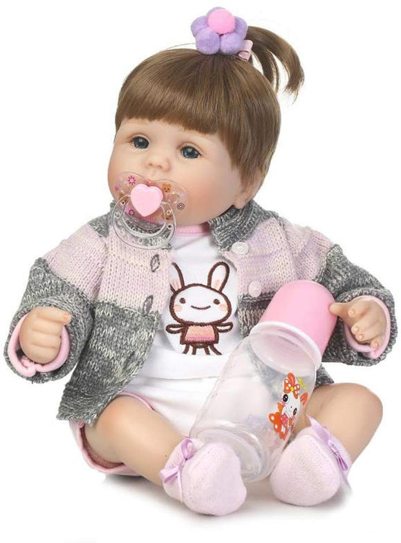 Npkdoll Lifelike Soft Simulation Silicone Reborn Baby Christmas Doll 18Inch 45Cm Boy Girl Gift Doll For Children Pink Gray Sweater Clothes High Yellow Wig Lovely Doll