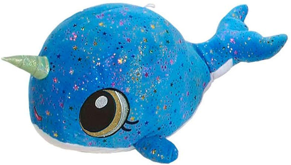 Fiesta Toys Blue Moon Glow Sparkle Rainbow Narwhal Plush Stuffed Animal Toy - 11 Inches