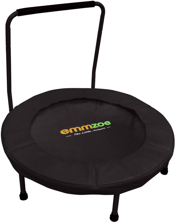 Emmzoe The Little Jumper 36 Inch / 3 Feet Padded Kids Trampoline With Balance Handrail - Easy To Setup