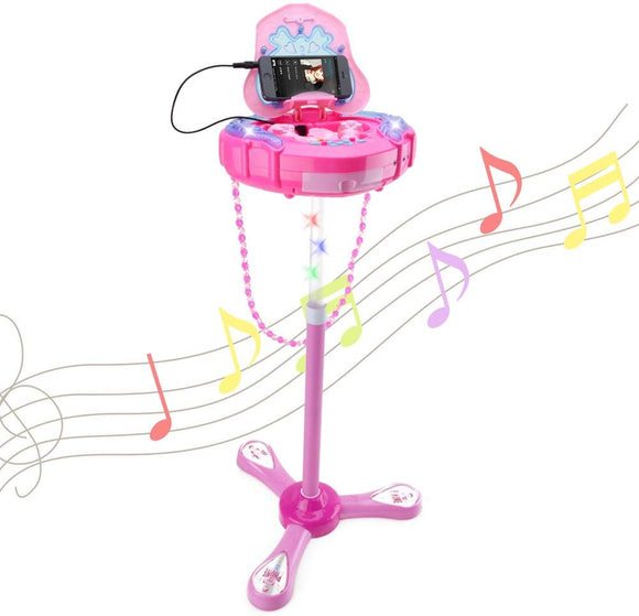 Wishtime Girls Karaoke Machine Music Toys Multifunction Music Player Fashion Happy Girls Female Bag Box Music Light 1 Microphone 1 Aux Cable Kids 3+