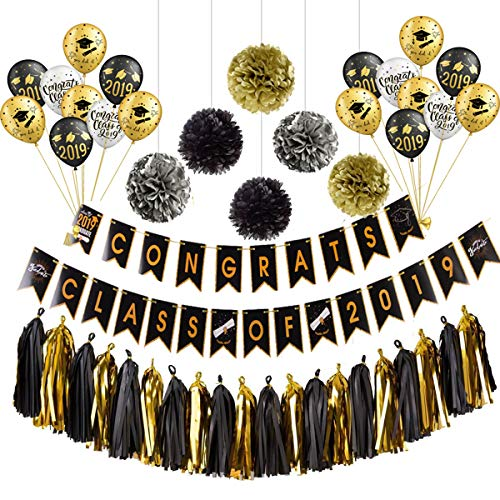 Gold 2019 Balloons Graduation Party Decoration Supplies Kit, Congrats Class Of 2019 Banner Set, Grad Party Decor With Paper Pomppoms Tassels , Large Balloons/Congrats Grad Banner/Latex Balloons/2019 P
