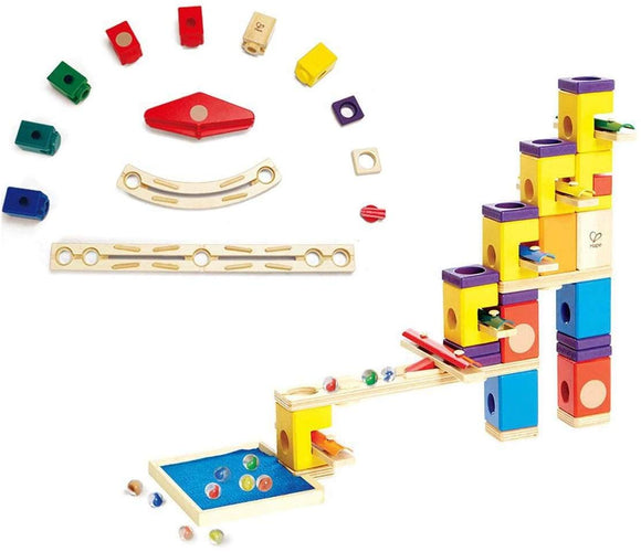 Hape Kids Wooden Music Motion Blocks Set + Hape Quadrilla Speedway Add On Set