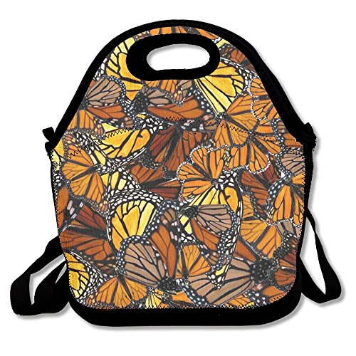 Insane Creation Orange Monarch Butterflies Lunch Bag Lunch Tote Lunchbox Handbag Reusable For Adult,Kids,Insulated,Stretchy,Reusable,Washable,Zipper,School Work Office Camping Travel