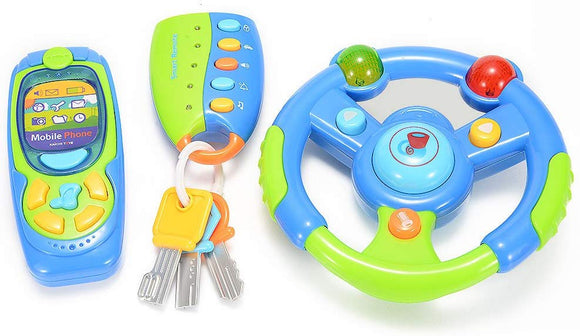 Glowsol 3-In-1 Musical Steering Wheel With Cell Phone And Key Set For Baby