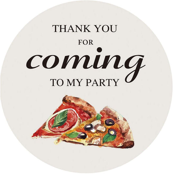 Magjuche Pizza Themed Thank You Stickers, Children Birthday Party Favor Decorations, Supplies, 40 Labels, 2 Inch Round