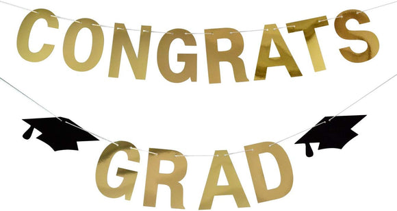 Firefairy Congrats Grad Gold Banner-Graduation/ Grad Party Decorations