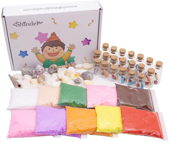 Diy Arts Crafts Kit, Sand Art Bottles Arts And Crafts Party Set For Kids, 20 Bottles, 10 Bags Of Sand, Beach Seashells