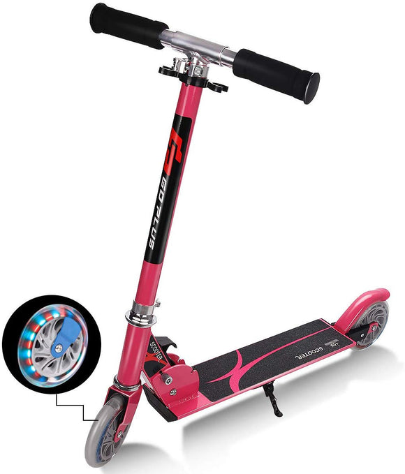 Goplus Folding Kick Scooter For Kids Deluxe Aluminum 2 Wheels Glider Adjustable Height With Led Light Up Rear Wheel For Girls And Boys (Pink)