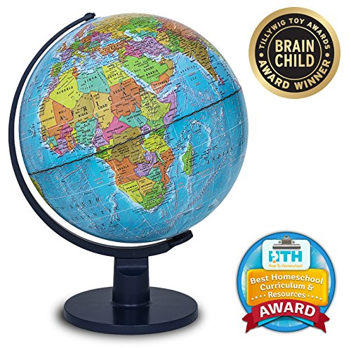 Waypoint Geographic Scout 12  Globe Globe For Kids &Amp; Teachers - More Than 4, 000 Name Places - Great Color &Amp; Unique Construction - Up-To-Date World Globe - With Stand