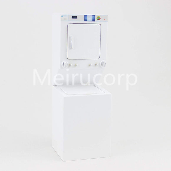 Meirucorp Dollhouse Miniature 1/12 Scale White Washing Machine And Dryer Integrated Cabinet
