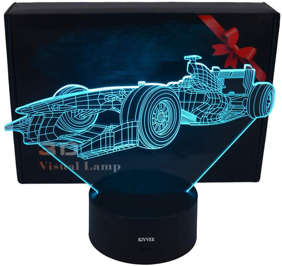 Lluukk Visual 3D Night Light Lamp Racing Car Race Driver Toys Desk Lamp Table Decoration Household Accessories Kids Gift Boys Festival For Sports Lovers