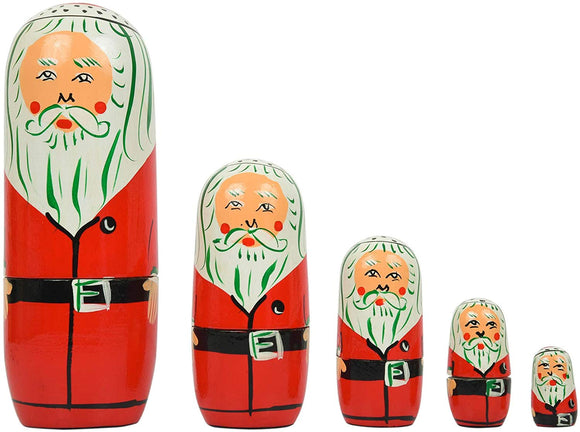 Fine Craft India Set Of 5 Piece Hand Paints Matryoshka Traditional Russian Nesting Santa Stacking Wooden Nested Dolls Christmas
